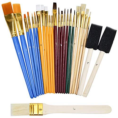 Sets de Pinceles y Brochas 25 Pincel,Pinceles Acuarela,Pinceles para Pintura Acrilica  Oleo,Brochas Pintura Redondo y Plano,Esponjas de Pintura Accesorios de Pintura para Adultos Niños Artistas