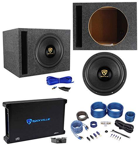 Rockville W12K9D4 12' 4000w Car Subwoofer+Vented Sub Box+Mono Amplifier+Amp Kit