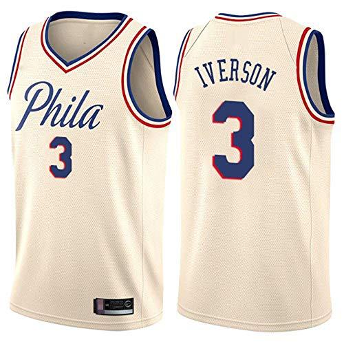 LYY Männer Basketball-Trikots, Philadelphia 76Er # 3 Allen Iverson - NBA Classic Comfort Atmungsaktive Ärmellose Westen Tops T-Shirt Uniformen,Beige,L(175~180CM)