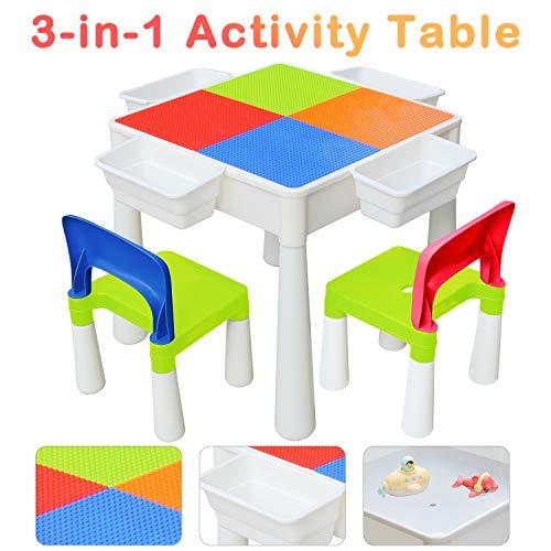 KORIMEFA Juego de Mesa y 2 Sillas Infantiles Mesa de Mesa de Actividades Multiusos Compatible 3 en 1 para niños Mesa de construcción para niños Mesa de Estudio Mesa de Comedor Mesa de Juego