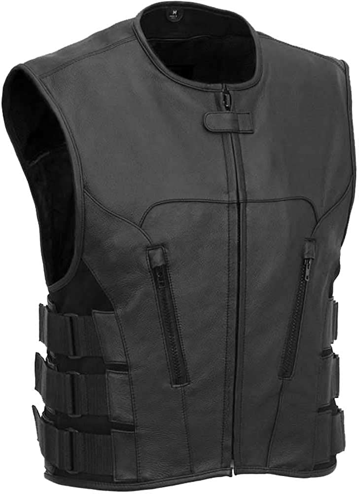 MEN'S MOTORCYCLE SWAT TEAM STYLE CLUB LEATHER VEST TACTICAL Spring new work Daily bargain sale one after another COW