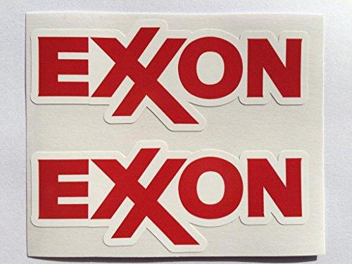 2 Exxon Gasoline Die Cut Decals