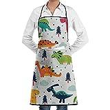 VFBGF Delantal Unisex Cartoon Dinosaur Set Bib Apron with Roomy Pocket Machine Washable Comfortably Adjustable Long Ties Chef Aprons