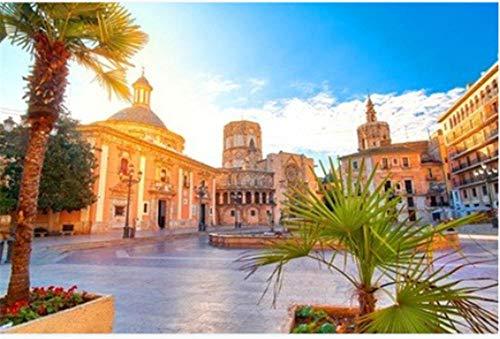 Nonebranded Puzzle Jigsaw Rompecabezas 500 Piezas Valencia Spain Virgin Square Architecture with Sunrise para Niños Adultos Mayores De 14 Años