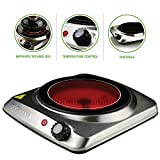 "OVENTE Electric Infrared Burner, 7"" Single-Plate, 1000W, Ceramic Glass & Stainless Steel, Silver..."