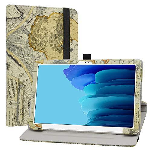 LiuShan Rotary Funda para Samsung Galaxy Tab A7, Folio Soporte PU Cuero con Funda Caso para 10.4' Samsung Galaxy Tab A7 10.4 (2020) T500 T505 Tablet,Map White