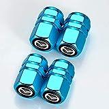 4 Piezas Coche Tapas de Válvula para Mazda 3 6 CX-3 CX-5 CX-9 MX-5, Cubiertas Impermeables de Prueba de Polvo Tapones de Válvula de Neumáticos
