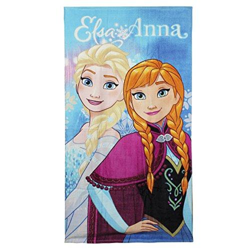 Disney La Reine des Neiges 2200-1427 Serviette De Plage, Bain, Piscine, Coton, Fille, Elsa, Anna