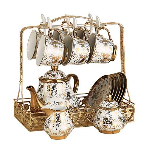 WLGQ 16 Set di Set da tè Europeo Tazza da caffè Creativa Tazza di Fiori in Oro Bianco Teiera Vassoio in Ceramica Bone China Afternoon Tea Party