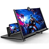 12' Cell Phone Screen Magnifier,3D HD Mobile Phone Magnifier Projector Screen for Movies, Videos, and Gaming–Universal Foldable Phone Stand with Screen Amplifier–Supports All Smartphones (Black, 12')