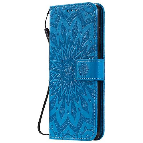 KKEIKO Hülle für Galaxy Note 10 Lite, PU Leder Brieftasche Schutzhülle Klapphülle, Sun Blumen Design Stoßfest HandyHülle für Samsung Galaxy Note 10 Lite - Blau