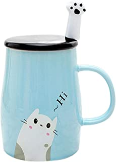 Taza Linda del Gato Taza de café de cerámica con Cuchara d