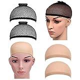 PrettyDate 4 Pack Elastic Wig Caps, Nylon Neutral Nude Beige and Open End Black Mesh Net Wig Cap