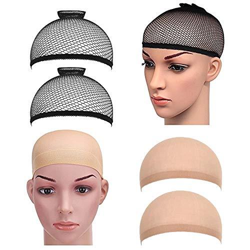 4gorros elásticos para pelucas de PrettyDate, nailon, color beige y...