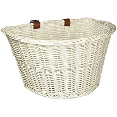 Colorbasket 01570 Adult Front Handlebar Wicker Bike Basket, Leather Straps, White