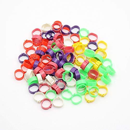 Lot de 120 anneaux à clipser pour pattes de volaille, oiseaux, poussins, canards, 6 couleurs