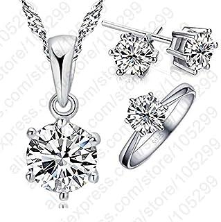 Conjunto de Joyas para Mujer 925, Pendientes pequeños mujer plata ,Collar y Anillo de Plata de Ley 925, aretes pequeños ni...