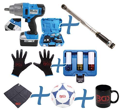 BGS 9927 | Radwechsel-Spar-Set | 7-tlg. | Akku-Schlagschrauber | Drehmomentschlüssel | Felgen-Schon-Einsätze | Mechaniker-Handschuhe
