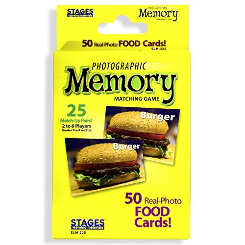 Stages Learning Materials Immagine Memory Foods Card Real Photo Concentration Game, Giallo, Dimensioni 5 x 3