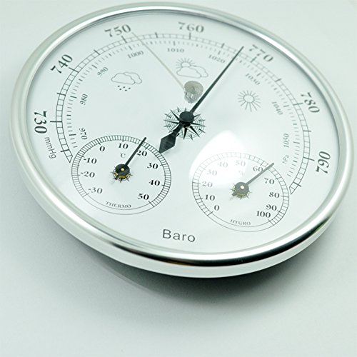 ETbotu - Termómetro de pared 3 en 1, medidor de presión de alta precisión, instrumento meteorológico, barómetros