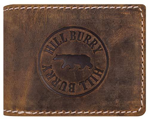 Hill Burry Portafoglio Uomo | Portamonete in vera Pelle di bufalo | Portafoglio uomo in pelle di qualità con un aspetto vintage | Porta Carte di Credito - Portafogli | Porta Banconote, tan