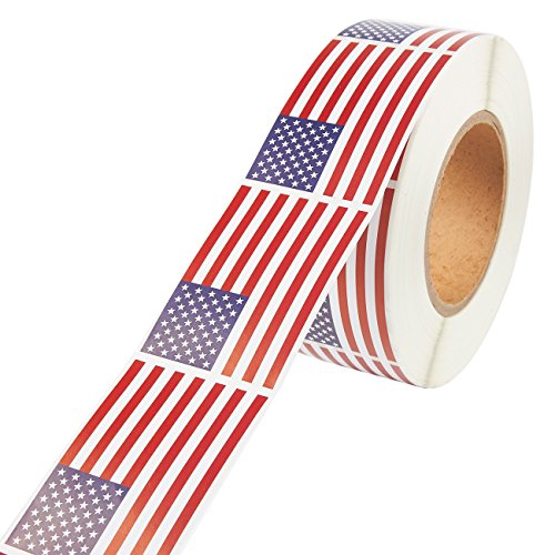 American Flag Self Adhesive Sticker Roll (3 x 2 in, 1000-Count)