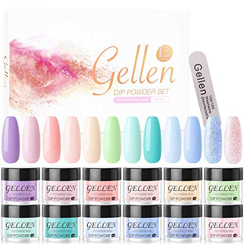 Gellen Dip Powder Nail Kit 12 Colors - Dipping Powder Acrylic Nails System, No Nail Lamp Needed Quick Nails Home Manicure Nail Art Set, Rainbow Candy