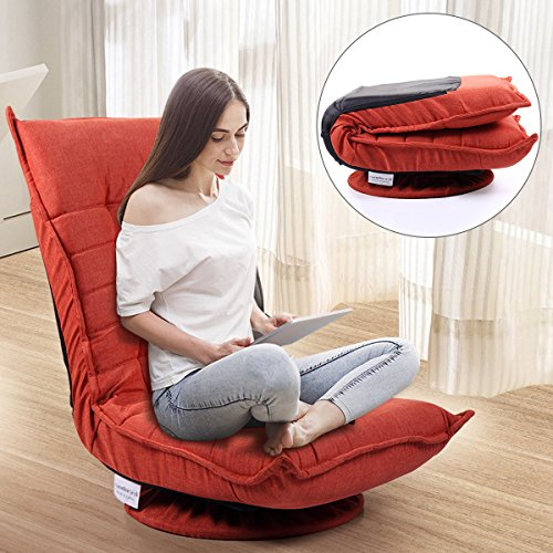 JAXSUNNY Floor Gaming Chair 5-Position Adjustable Folding Floor Chair Fabric 360 Degree Swivel Comfortable Lazy Sofa Chair for Adults,Teens, Orange Red