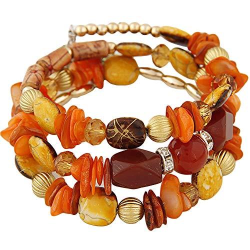 RIsxffp Pulseras, Multi capas de piedra con cuentas ajustable pulsera retro de las mujeres de la joyería de regalo de la muñeca de decoración, Piedra rota, NA,