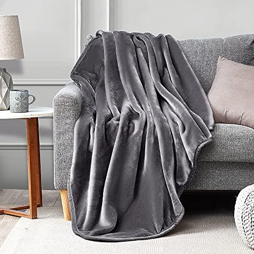 Umchord Grey Throw Fleece Blanket, Super Soft 400GSM High Density Luxury Plush Blanket for Bed Couch, All Season Blanket(Throw, 50'x60', Grey)