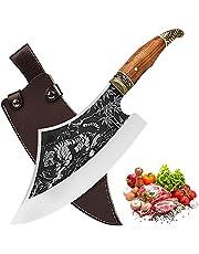 Promithi Professionele slagermessen, koksmes, volledige tang, keukenmes, hakmes met houten handvat, professioneel hakmes voor buiten, gebruiksmes, scherp lemmet