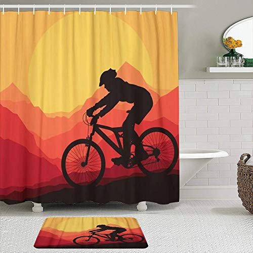Fabric Shower Curtain and Mats Set,Silhouette Mountain Bike Rider in Wild Nature Landscape Bicycle Adventure Cyclist,Waterproof Bath Curtains with 12 Hooks,Non Slip Rugs