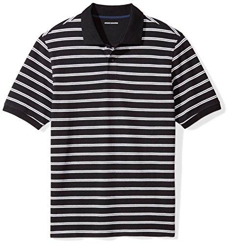 Amazon Essentials Men's Regular-Fit Cotton Pique Polo Shirt, Black Stripe, XX-Large
