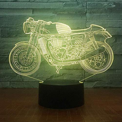 Luz de control remoto 3D vision LED micro USB escritorio luz de noche 7 colores, con control remoto, reduciendo la famosa motocicleta (M9) -M1 en el tablero de acrílico