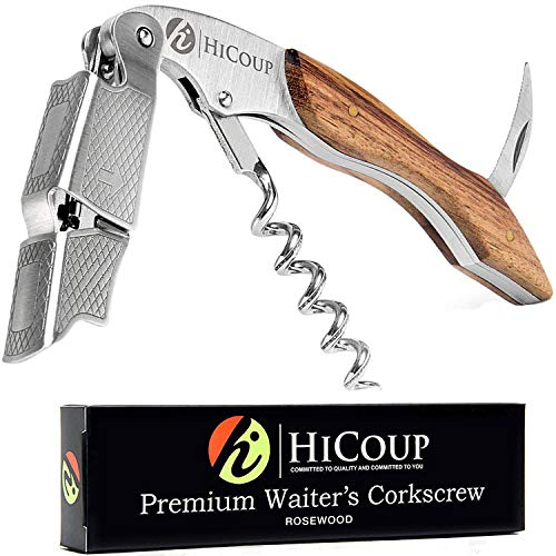 Professional Waiter's Corkscrew by HiCoup - Rosewood Handle All-in-one Corkscrew, Bottle Opener and Foil Cutter, Used By Sommeliers, Waiters and Bartenders Around The World