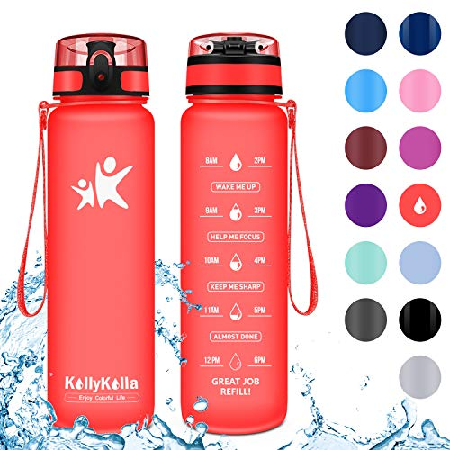 KollyKolla Sports Water Bottle - 500ml, BPA Free Eco-Friendly Tritan Drinks Bottle with Filter & time Marker, Dishwasher Safe, Flip Lid, for Kids, Exercise, Gym, Yoga, Hiking, Travel, Matte Red