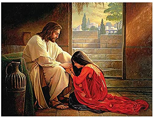 DIY 5D Diamond Painting Kit for Adults Children Artistic Cross Stitch, Round Drill Jesus Embroidery for Wall Decoration 12X16in(Y55)