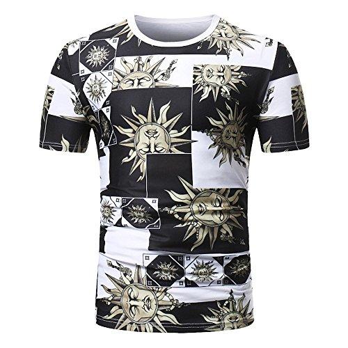 BURFLY Streetwear T-Shirt Herren, 2018 Neueste Männer Sommer Casual African Print O Hals Pullover Kurzarm T-Shirt Top Bluse Fashion Streetwear (L, Schwarz)
