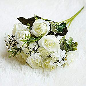 Artificial and Dried Flower 10 Flowers Small Camellia Artificial Flowers Bouquet Home Christmas Wedding Decoration Silk Flower Decorating
