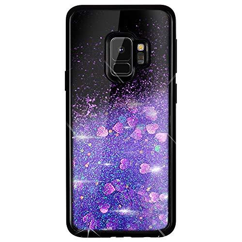 Caler Compatible pour Coque Samsung Galaxy S9 Plus Mode 3D Paillettes Liquide Flottant Liquide Bling Étui Protecteur Silicone Bumper Brillant Sparkly Cristal Brillante Sables Mouvant étui(Violet)