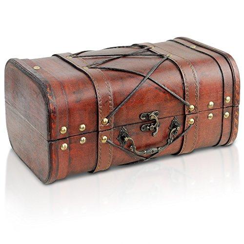 Brynnberg - Caja de Madera Cofre del Tesoro con candado Pirata de Estilo Vintage, Hecha a Mano, Diseño Retro 29x18x15cm