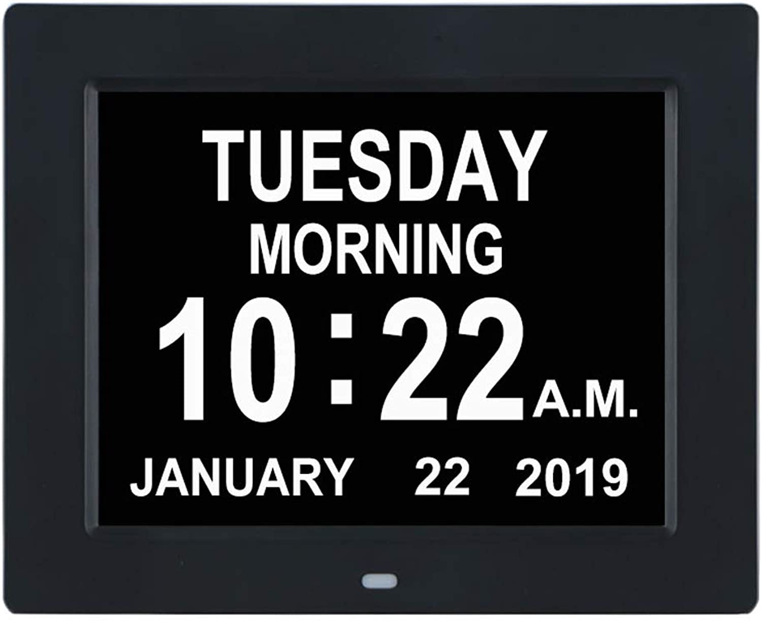 TMC [Newest Version] Digital Calendar Day Clock -Extra Large Impaired Vision Memory Loss?Clock with 12 Alarm Options for Seniors, Elderly, Dementia, Alzheimer (8-inch,Black)