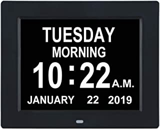 TMC [Newest Version] Digital Calendar Day Clock -Extra Large Impaired Vision Memory LossClock with 12 Alarm Options for Seniors, Elderly, Dementia, Alzheimer (8-inch,Black)