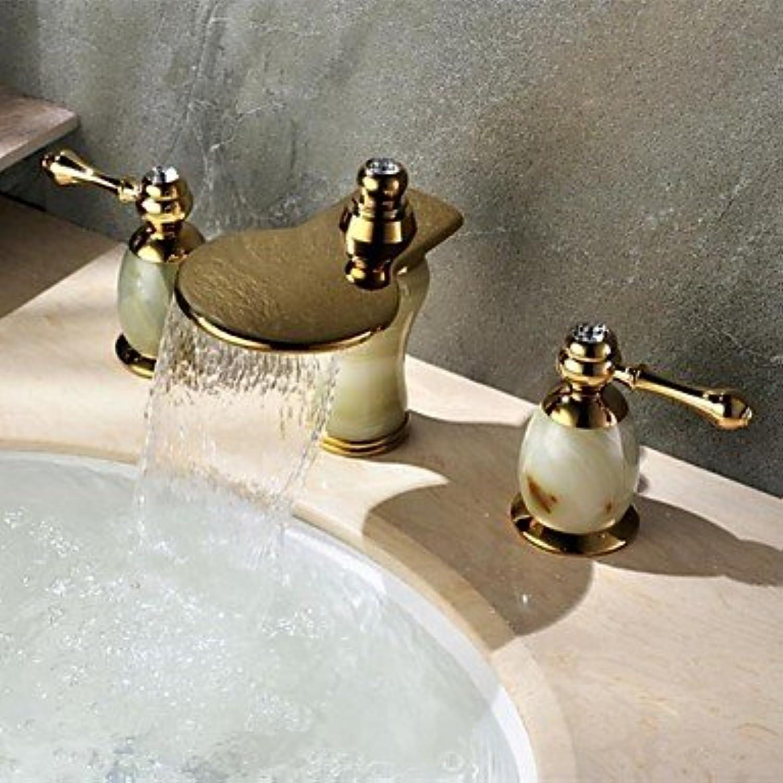 BiuTeFang Waschbecken Wasserhahn Ti-PVD-Finish Breitgefchert Art-Deco-Stil Messing Wasserfall Waschbecken Wasserhahn Badezimmer Wasserhahn Waschtischarmatur
