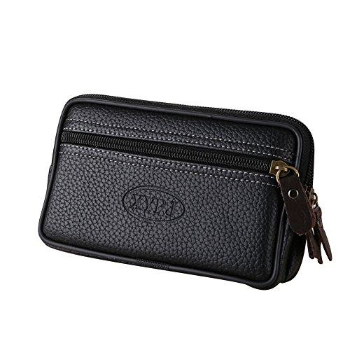 Bolso de cintura de cuero sintético de doble capa para teléfono al aire libre, senderismo, escalada collectsound, Black (Negro) - collect