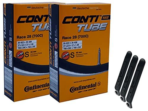 "pneugo! Continental Sclaverand 20-622/25-630 (Race) - Juego de 2 cámaras de aire para bicicleta (28"", incluye 3 desmontadores de neumáticos)"
