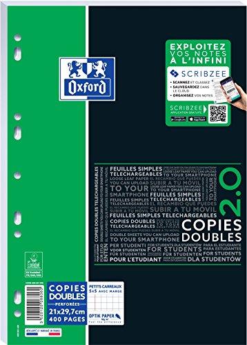 Oxford Etudiants 400 Pages A4 Petits Carreaux 5x5 mm - Copies Doubles Perforées 90gr Blanc
