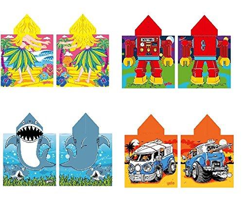 Yello Childs Poncho Toalla, Toalla de baño, Toalla de Playa, Hawaiian Girl, Surf Bus, tiburón y Robot diseños, Surf Bus