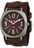 Burgundy Comely Watch with Faded Brown X Leather Cuff Watch Band, 110BFXB