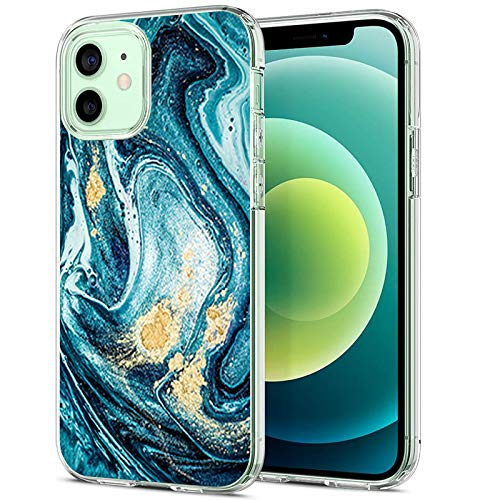20-Danie Carcasa transparente para iPhone 12 Mini, funda protectora transparente de cristal con mármol, funda de silicona TPU transparente, resistente a los arañazos 6 L